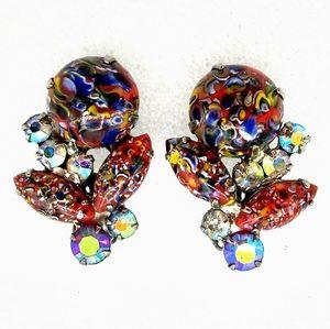 VTG Juliana Red Harlequin Millefiori Clip Earrings
